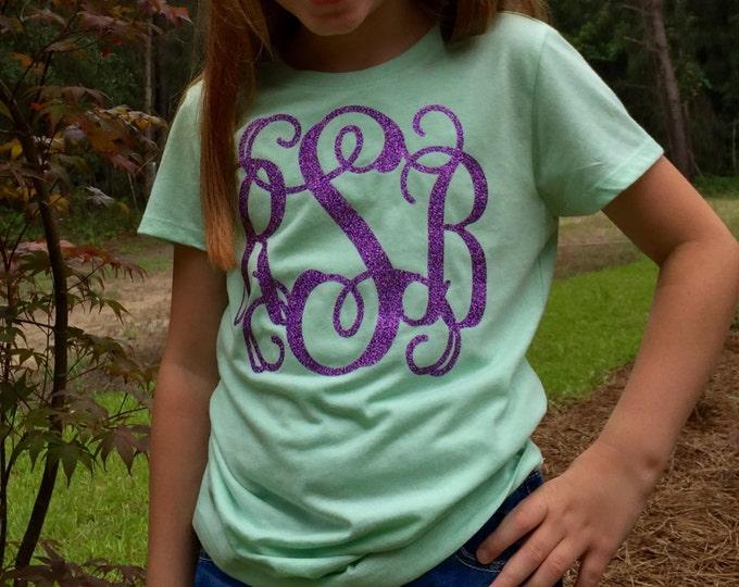 Monogram T shirt, Monogrammed Tee Shirt, Short Sleeve Fitted T shirt, Monogram Tee Shirt, School Colors, Custom tee shirts