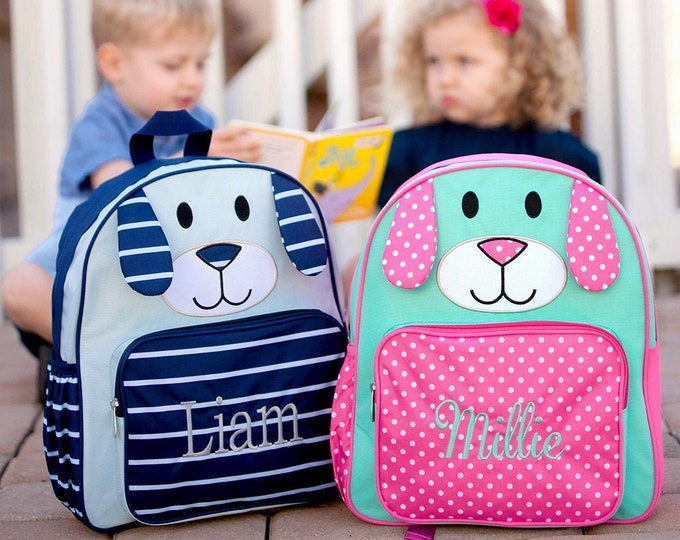 Personalized Preschool Backpack, Puppy Backpack for Boys and Girls