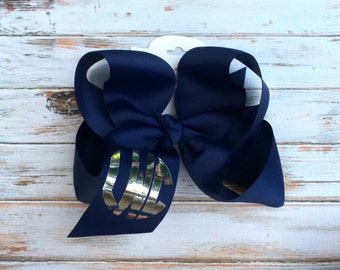 Monogram Hair Bow, Large, Big, Monogrammed Bow, Monogrammed Gift, Monogram, Cheer Bows, Circle Monogram, Vine Monogram