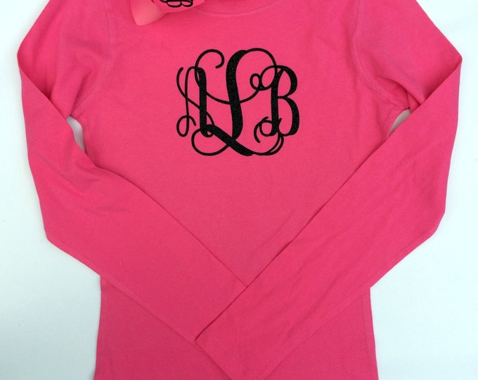 Monogram Long Sleeve Tee shirt - Monogrammed Hair Bow - Girl's - Women's sizes - Monogrammed gifts - Monogrammed T shirts