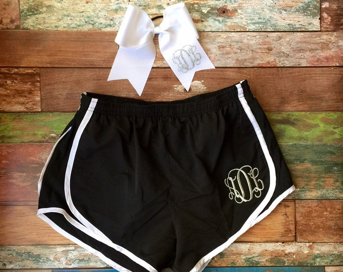 Monogrammed Cheer Shorts and Cheer Bow, Monogrammed gifts, Monogrammed Running Shorts and Monogram Cheer bow Set, TEAM DISCOUNTS