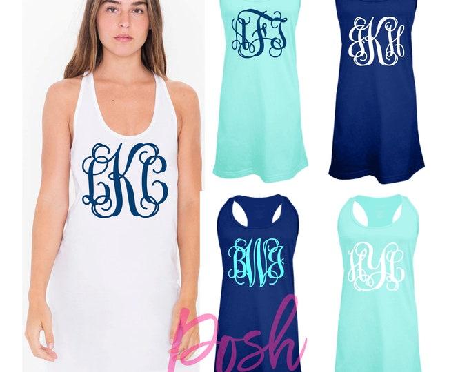Custom Swimsuit Coverup, Monogram Swimsuit Coverup, Bachelorette Tank Dress, Bridesmaid Tank Dress, Group Discounts