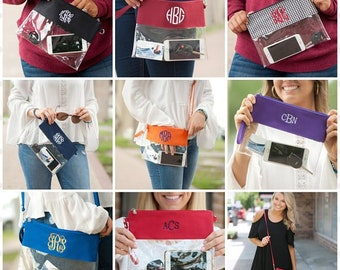 Monogrammed Clear Purse, Stadium Bag, Security Friendly, Monogrammed Clear Zip Pouch, Clutch, Crossbody, Team Colors
