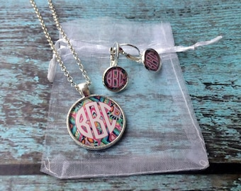 Monogrammed Necklace and Earrings Set Monogrammed Gifts Bridesmaid Gifts Monogram Necklace Monogram Earrings
