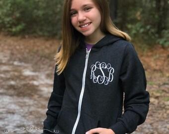 Monogrammed Hoodies, Monogrammed Full Zip Hoodie, Monogrammed Sweatshirt Jacket, Gifts for Her, Gifts for Him, Gifts under 30