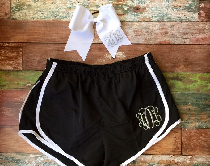 Monogram Running Shorts, Cheer Bow Set Cheer Shorts Monogram Cheer Bow, Monogrammed Running Shorts