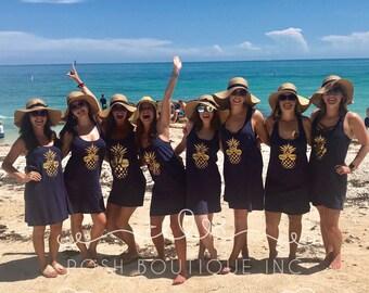 Custom Swimsuit Coverup, Bridesmaid Tank Dress, Bachelorette Party Swimsuit Coverup, Bachelorette Tank Dresses
