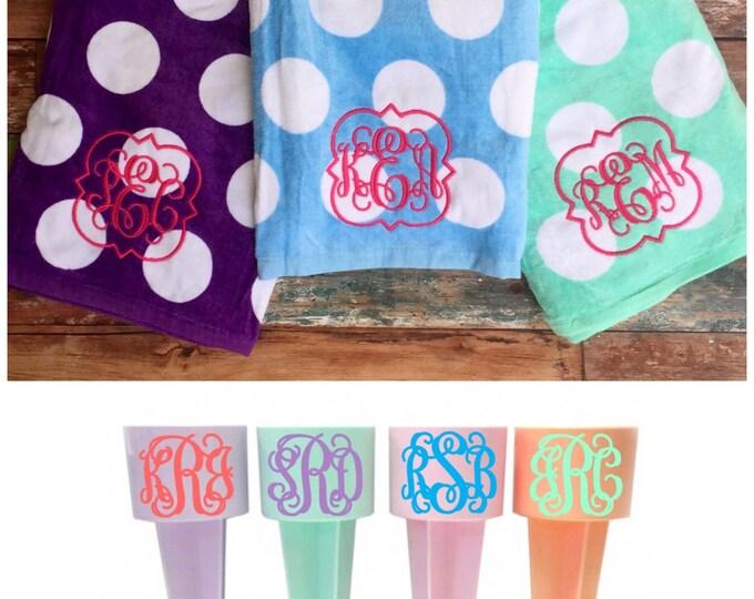 Monogram Beach Towel and Sand Spike bundle, Monogrammed Gifts, Monogram Beach Towels, Bachelorette Party Gifts, Sand Spiker, Beach Towel