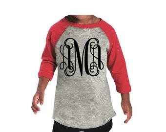 Monogram Raglan Tee Shirt, Toddler Monogrammed Raglan T-shirt, Monogrammed Baseball T shirt, Monogrammed Three Quarter Sleeve T shirt