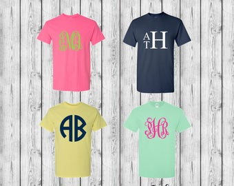 Monogram T-Shirt, Monogrammed Shirts, 10 Dollar Monogram Shirt Sale, Matching Mom and Daughter Shirts, Group Discounts, Plus Sizes Available