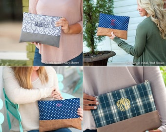Monogram Clutch, Monogrammed Makeup Bag, Cosmetic Bag, Monogrammed Bridesmaid Gift, Women's Makeup Bag, Toiletry Bag