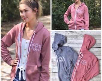 Monogrammed Full Zip Hoodie for Women | Lightweight zip up Fleece | Personalized Gift for Her | Unisex Hoodie | Bridesmaid Gift