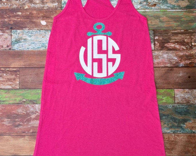 Monogrammed Swimsuit Coverup, Monogram Tank dress, Bridesmaid Gift Beach Coverup, Swimsuit Coverup, Anchor Monogram Coverup