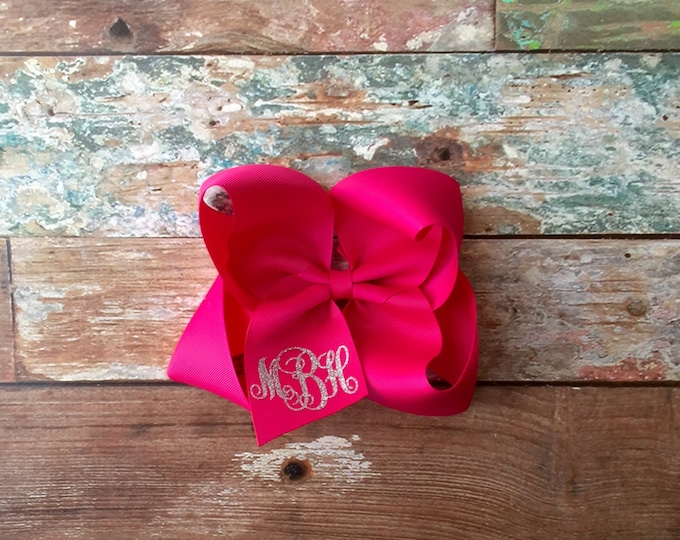 Glitter Monogrammed Hair Bow, Girls hair bow, Boutique hair bow, Monogrammed gifts