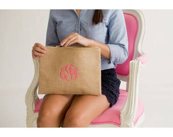 Monogrammed Burlap Clutch, Burlap Cosmetic Bag, Monogrammed Bridesmaid Gifts, Women's Makeup Bag, Back to School