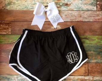 Monogrammed Running Shorts Cheer Bow Set Monogram Shorts and Big Cheer Bow Gift Set Girls Personalized Birthday Cheerleader Shorts