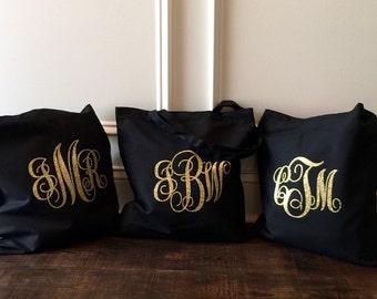 Monogram Canvas Tote bag, Bridesmaid Gifts, Monogrammed Tote Bags, Glitter Monogram Tote bag, Monogrammed Gifts