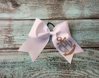 Monogram Cheer Bows, Hair Bows, Anchor Cheer Bow, Nautical Cheer Bow, Cheerleaders, Teams, Custom Cheer bows, Monogrammed gifts, Cheer bows