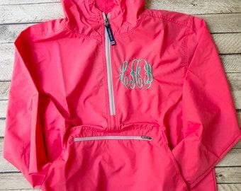 Monogrammed Rain Jacket, Charles River Rain Jacket, Lightweight Rain Jacket, Anorak Rain Jacket, Quarter Zip, Rain Jacket, Windbreaker