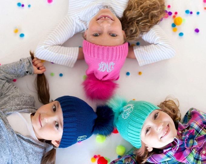 Monogrammed Beanie Hat, Bella Hat, Monogrammed Hat for Girls