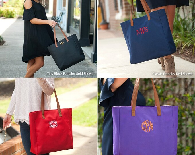 Monogrammed Tote Bags, Personalized Tote Bags, Tailgate Tote, Monogrammed Gifts, Bridesmaid Gifts, Group Discounts, 8 Color Options