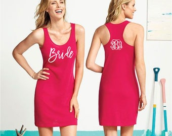 Monogram Swimsuit Coverup - Bridal Party - Monogram Tank Dress - Beach Coverup - Bride Tank Dress - Bridesmaid Coverups - Bachelorette Party