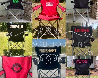 Monogrammed Camp Chair, Custom Folding Chair, Bag Chair, Personalized Folding Chair, Game Day Chair, Tailgate Chair, Camping Chairs