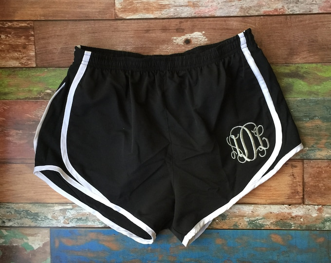 Monogrammed Running Shorts Monogram shorts Monogram Cheer shorts Girls and Women's sizes