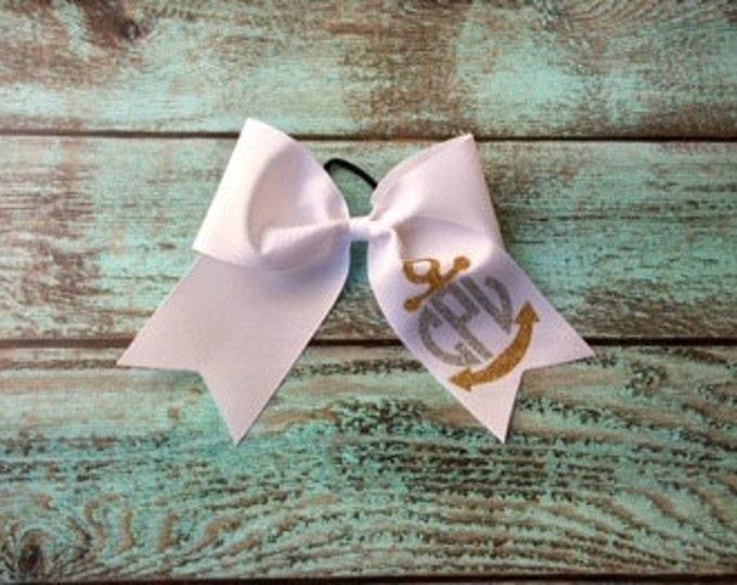 Monogram Cheer Bows, Hair Bows, Anchor Cheer Bow, Nautical Cheer Bow, Cheerleaders, Teams, Custom Cheer bows, Monogrammed gifts, Cheer bows