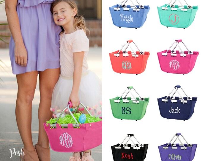 Monogrammed Mini Market Tote, Monogram Easter Tote, Mini Market Tote, Personalized Basket, Personalized Mini Market Tote