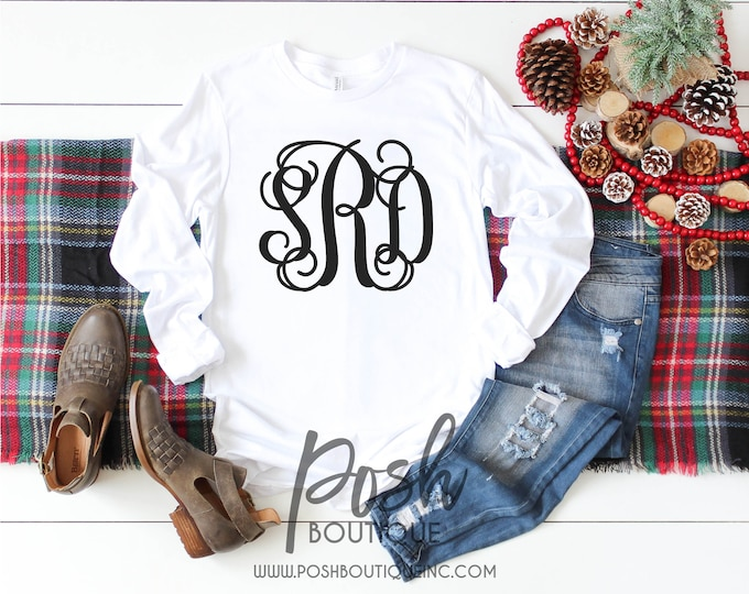 Long Sleeve Monogram Shirt, Monogram Tee Shirts for Girls and Women, Gift for Her, Gift under 20