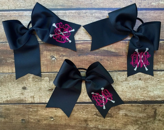 Monogram Cheer Bows, Hair Bows, Cheer Bows, Baton Hair bow, Monogrammed Cheer Bow, Big Cheer Bow, Monogrammed Gifts