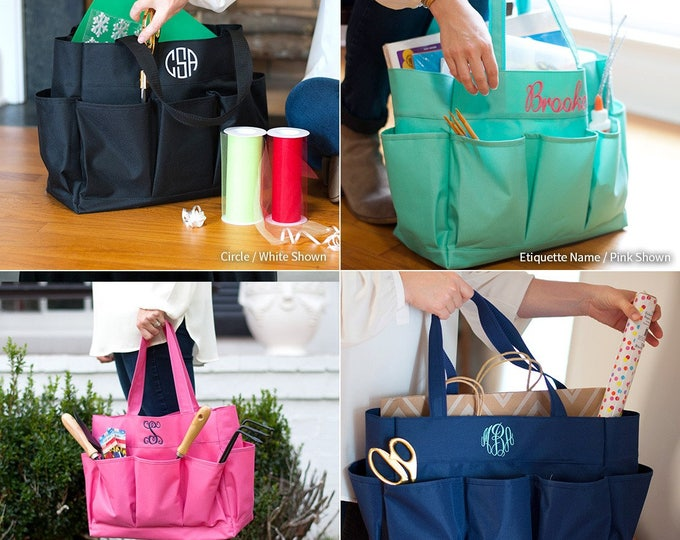 Monogrammed Tote Bag, Teacher Bag, Monogram Carry All Bag, Gifts for her, Teachers Gift, Multi Purpose Tote, Monogram Tote
