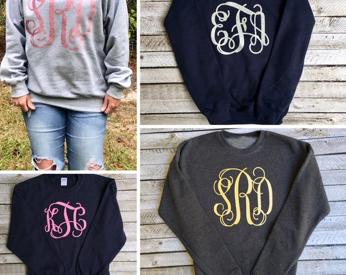 Monogram Sweatshirt - Monogrammed Gifts for Her - Girls and Women's Monogrammed Sweatshirts