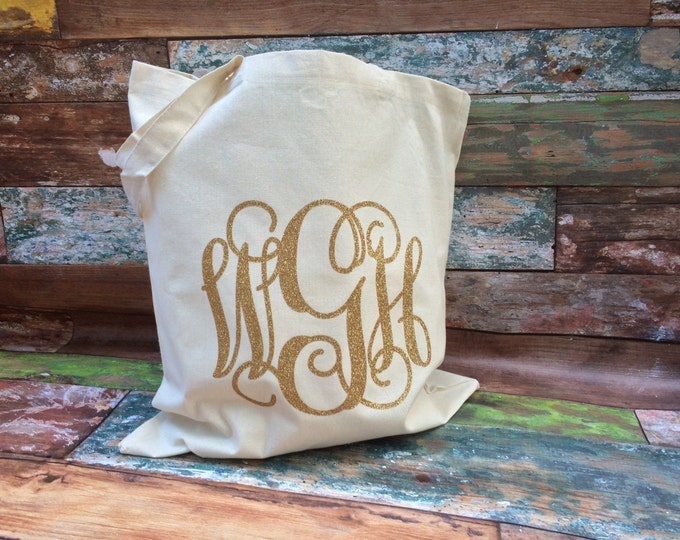Monogram Tote Bag, Canvas Tote Bag, Monogram Tote, GROUP DISCOUNTS, Bridesmaid Gift Bags, Wedding Favors, Monogram Canvas Tote Bag