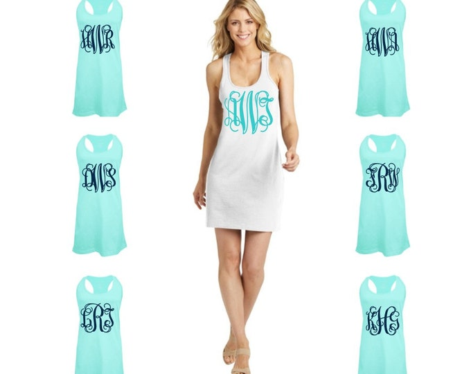 Monogrammed Swimsuit Coverup, Monogram Swimsuit Cover up, Monogram Coverup, Bridesmaid Gift, Bachelorette Party