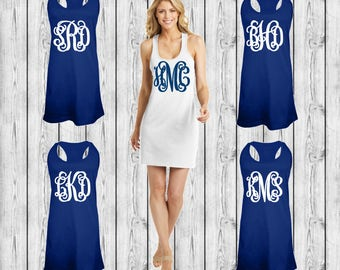 Monogrammed Swimsuit Cover up, Tank Dress, Swimsuit Coverup, Monogrammed Bridesmaid Gift, Bachelorette Tank Dresses, Group Order Discounts