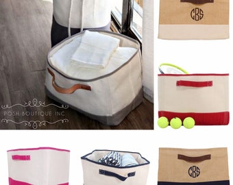 Monogrammed Canvas Bin, Storage Basket, Organizer, Catch All, Canvas Storage Tub