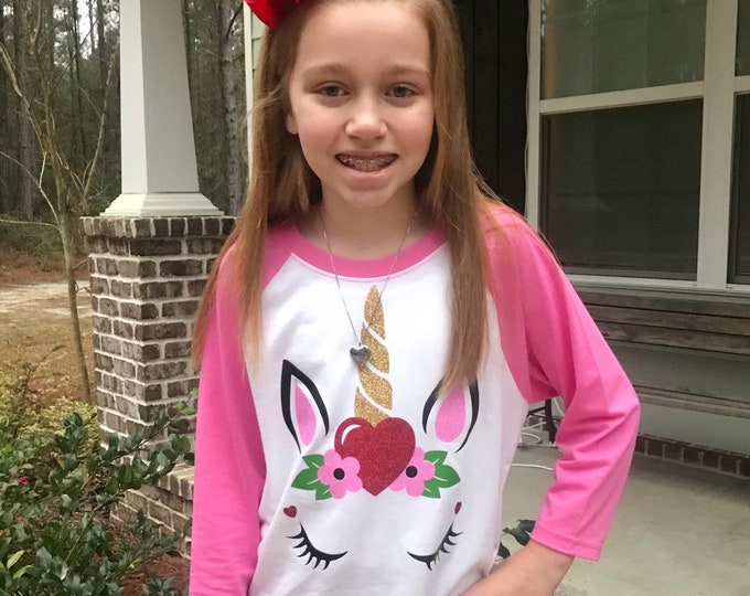 Unicorn Valentine Shirt, Girls Unicorn Shirt, Unicorn Tee Shirt, Unicorn Raglan Shirt