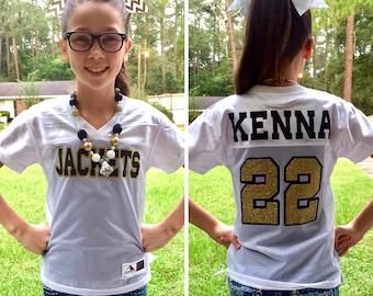 Custom Football Jersey, Girls Football Jersey, Ladies Football Jersey, Cheerleader Jersey, Team Spirit Shirt, Powderpuff Game Jersey