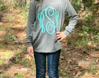 Monogrammed Shirt, Monogram Long Sleeve Tee Shirt, Monogrammed gifts, Long Sleeve Monogrammed Tee Shirt, Gifts Under 20, Girls, Womens