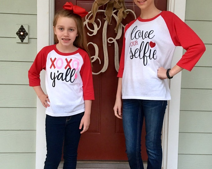 Valentine Shirts, Girls Valentines Day Shirts, Ladies Valentines Day Shirts, XOXO Y'all, Love Your Selfie, Valentine Unicorn