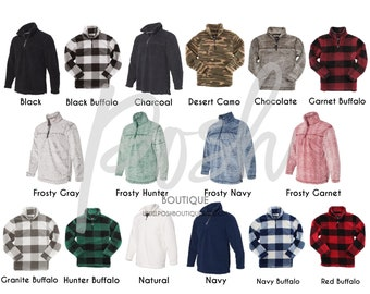 Monogrammed Sherpa Pullover, Women's and Girls Sherpa Quarter Zip Pullover, Bridesmaid Gifts, Monogrammed Quarter Zip, Buffalo Plaid Sherpa