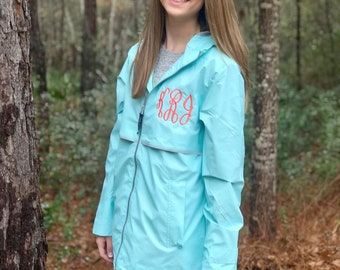 Monogrammed Charles River Rain Jacket - Ladies Rain Jacket - New Englander Rain Jacket - Monogrammed Full Zip Rain Coat