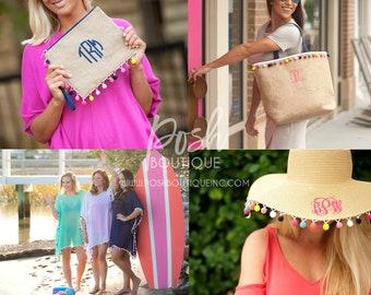 Monogrammed Burlap Tote Bag, Burlap Clutch, Pom Pom Floppy Hat, Pom-tastic Swimsuit Coverup, Pom-tastic Collection