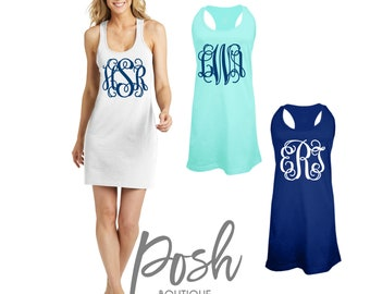 Monogram Swimsuit Coverup Monogrammed Bridesmaid Tank Dress, Bachelorette Swimsuit Coverups