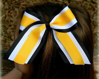 Cheer Bows, Hair Bows, Custom Cheer bows, Team Cheer bows, Three Layer Cheer Bow, Black White Gold, Cheer Hair Bow, Custom Hair Bow