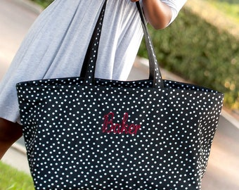 Monogrammed Tote Bag, Beach Bag, Seersucker Ultimate Tote, Picnic Basket, Game Days, Teacher Bags, Organizer Bag, Carry All Bag