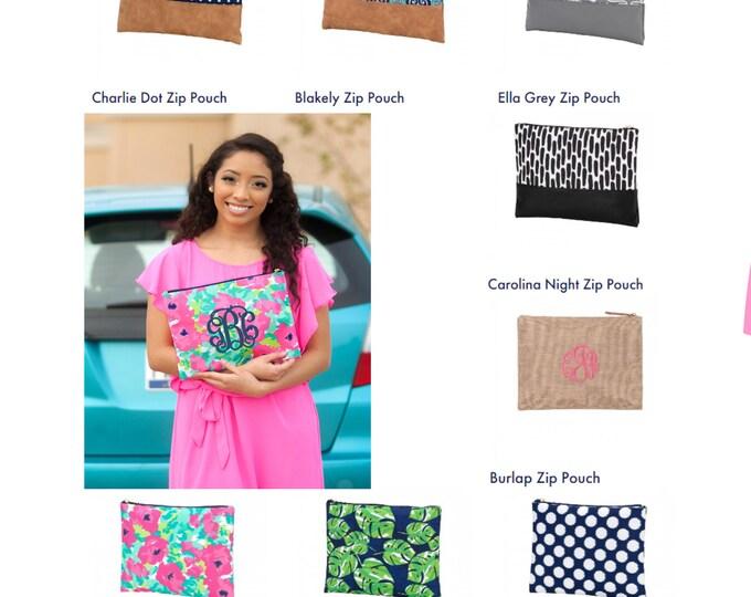 Monogram Clutch, Monogrammed Makeup Bag, Cosmetic Bag, Monogrammed Bridesmaid Gift, Women's Makeup Bag, Toiletry Bag
