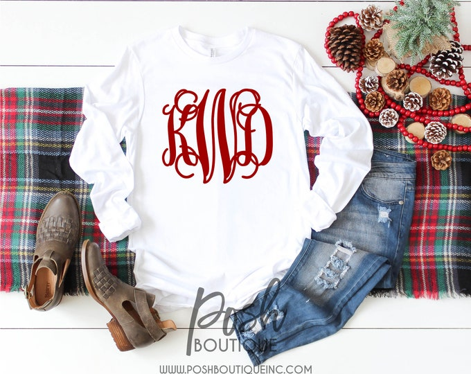 Monogram Shirt - Monogrammed Long Sleeve Tee Shirt for Girls and Women - Monogrammed gifts - Gift Under 20